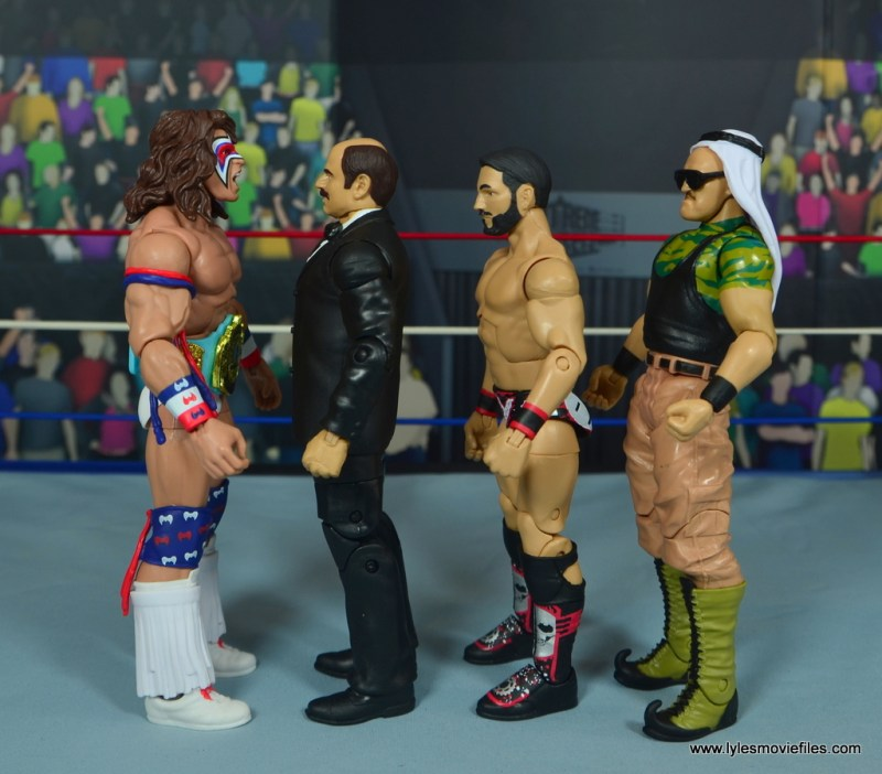 WWE Howard Finkel The Fink figure review - scale with ultimate warrior, johnny gargano and sgt. slaughter