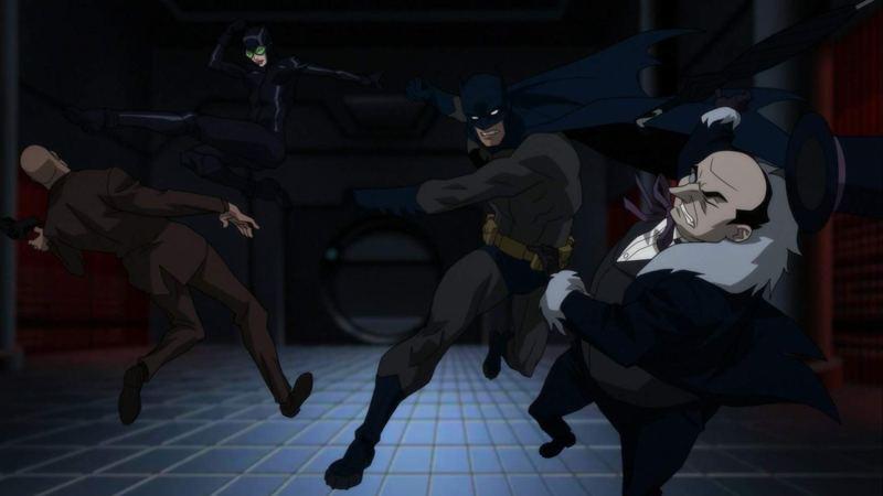 batman hush review - batman and catwoman fighting penguin