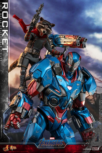 hot toys avengers endgame rocket figure - atop iron patriot