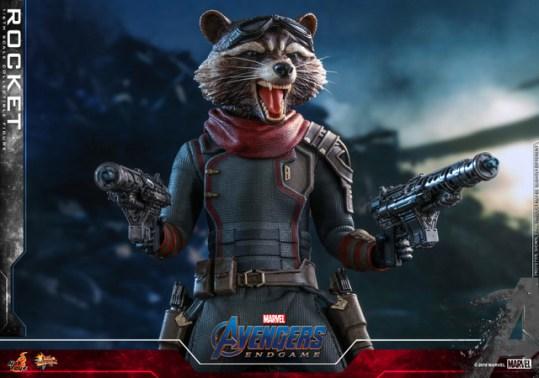hot toys avengers endgame rocket figure - close up