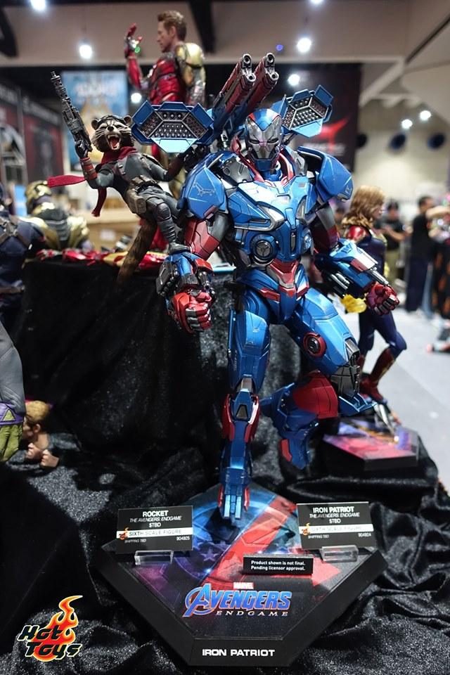 sdcc 2019 hot toys reveals - avengers endgame rocket and iron patriot
