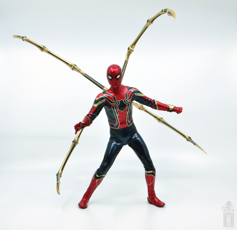 hot toys avengers infinity war iron spider figure review - spider legs out