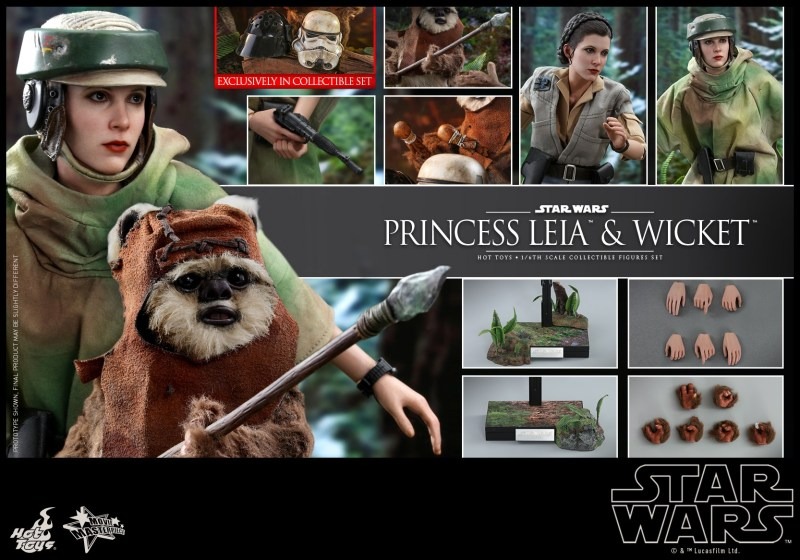 hot toys return of the jedi princess leia and wicket figures - collage