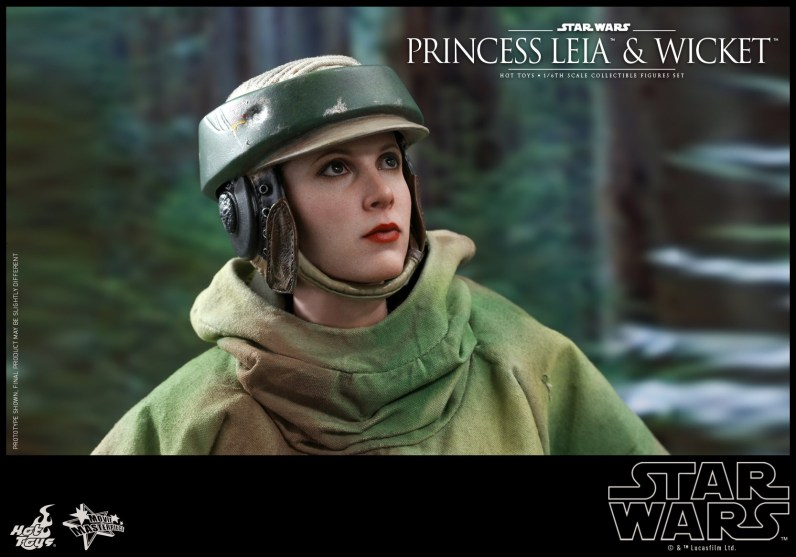 hot toys return of the jedi princess leia and wicket figures - leia looking up