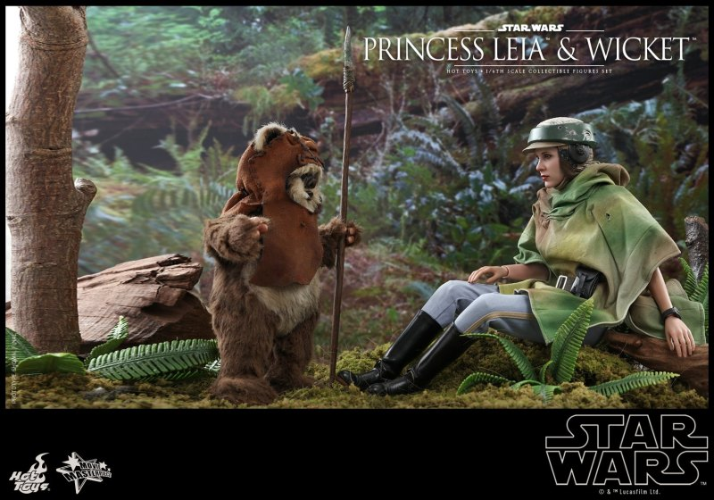 hot toys return of the jedi princess leia and wicket figures - leia meeting wicket