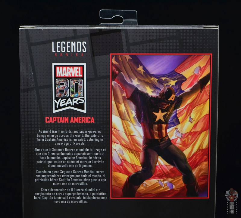 marvel legends captain america figure review 80th anniversary - package bio