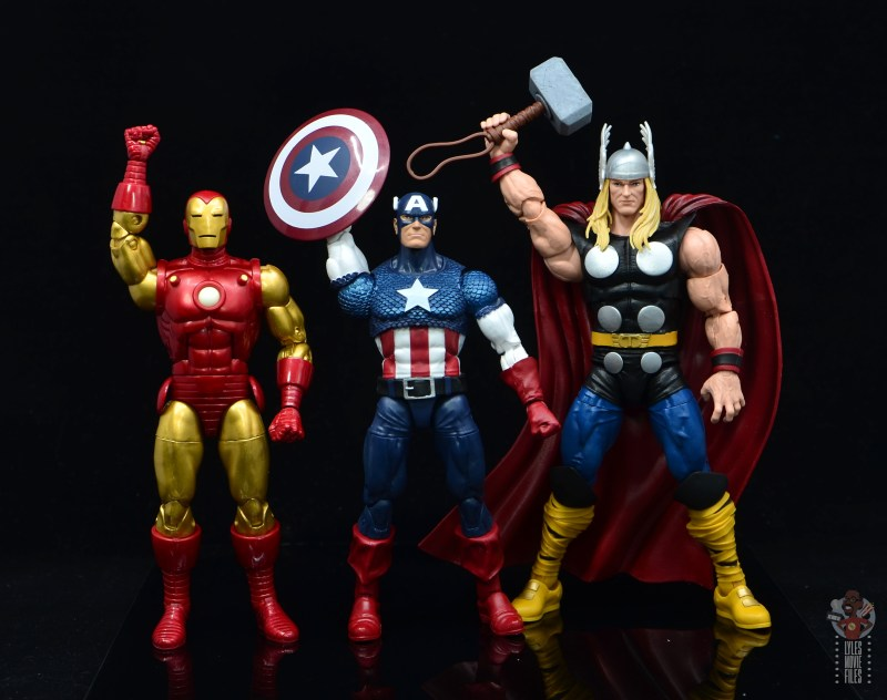 marvel legends captain america figure review 80th anniversary - with iron man and thor