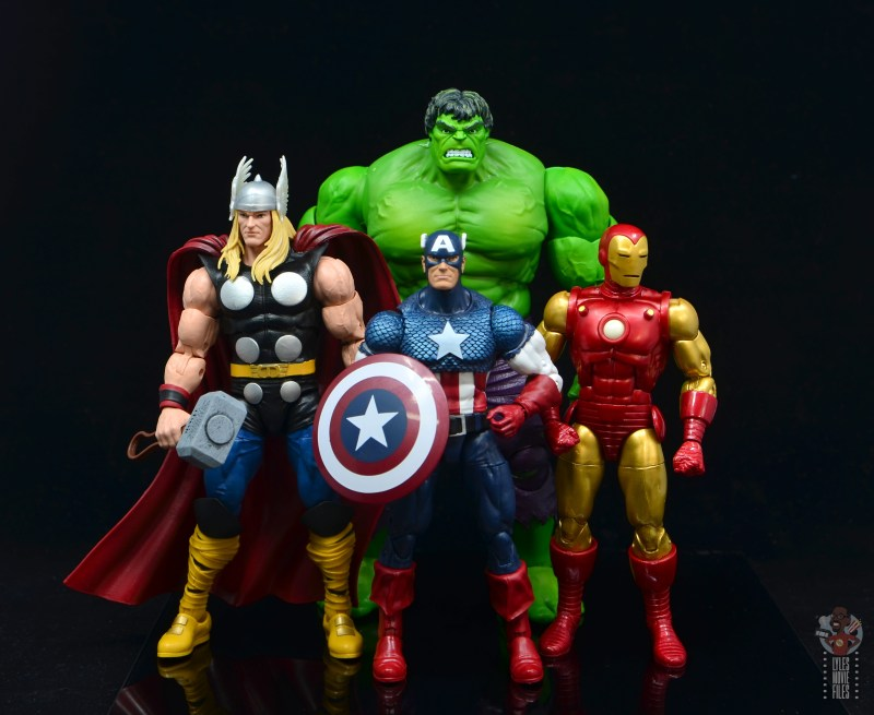 marvel legends captain america figure review 80th anniversary - with thor, hulk and iron man 80th figures