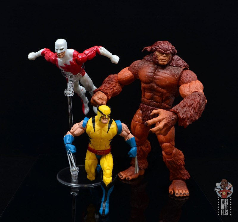 marvel legends guardian figure review - wolverine leading guardian and sasquatch