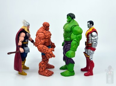 marvel legends hulk vs wolveringe figure review 80th anniversary - hulk facing thor, thing and colossus