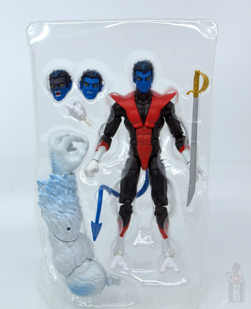 marvel legends nightcrawler figure review - accessories in tray