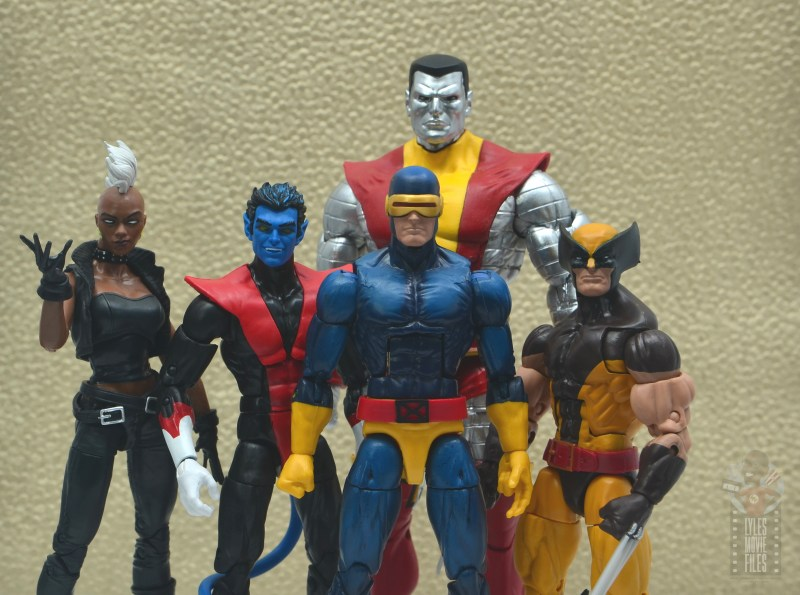 marvel legends nightcrawler figure review - with storm, colossus, cyclops and wolverine