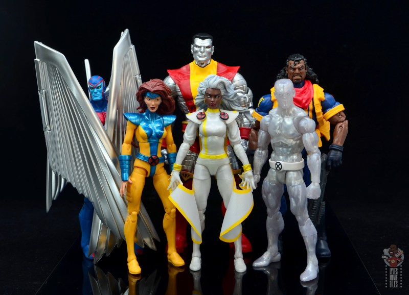 marvel legends storm figure review - with archangel, jean grey, colossus, iceman and bishop