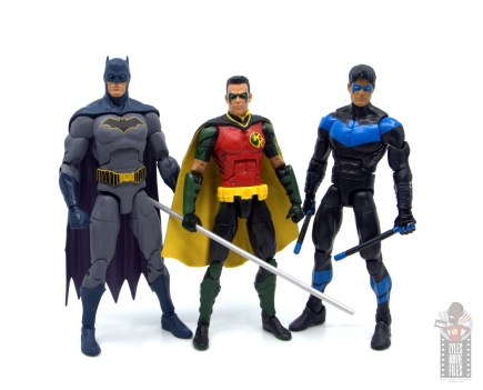 dc multiverse red robin figure review - scale with dc essentials batman and multiverse nightwing