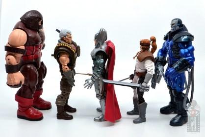 marvel legends cable figure review -facing juggernaut, stryfe, shatterstar and apocalypse