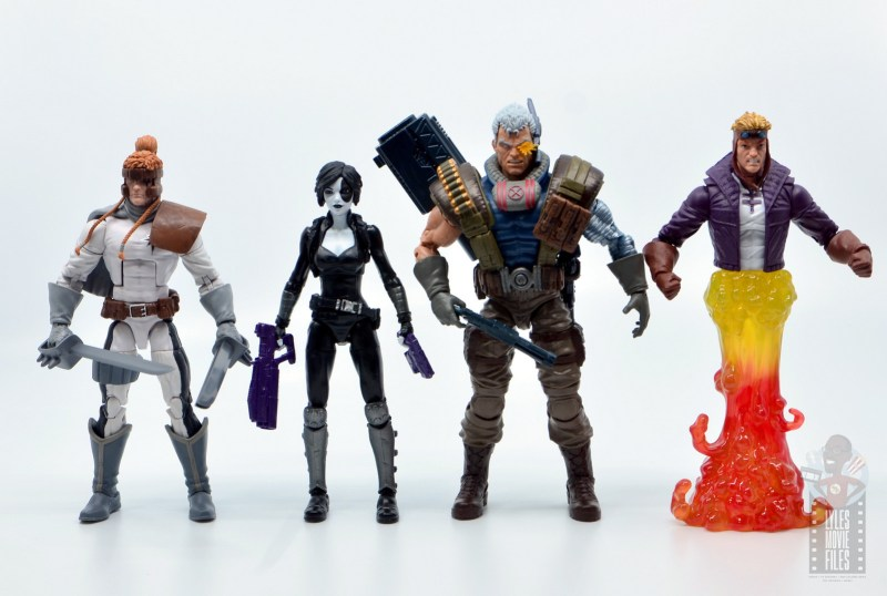 marvel legends domino figure review - scale with shatterstar, cable and cannonball