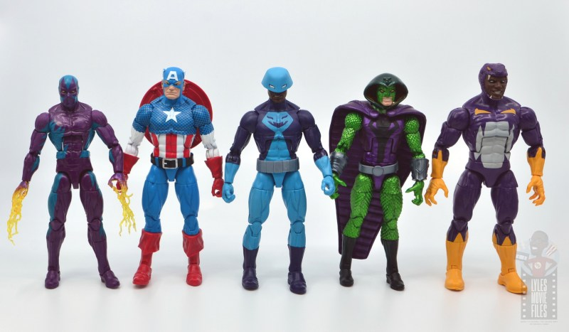 marvel legends rock python figure review - scale with eel, captain america, cobra and cottonmouth