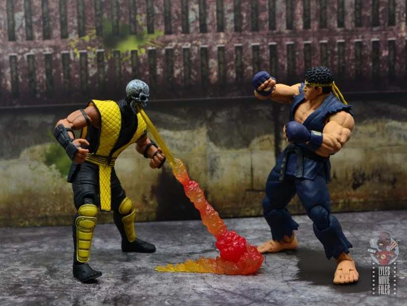 storm collectibles scorpion figure review -shooting fire at ryu