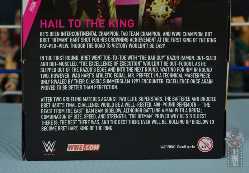 wwe bret hart king of the ring 1993 figure review - package bio