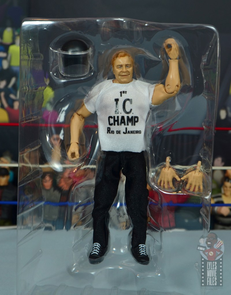 wwe elite pat patterson figure review - accessories in tray