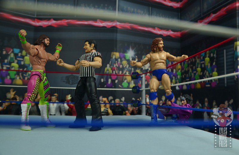 wwe elite sensational sherri figure review - grabbing hacksaw duggan's ankle