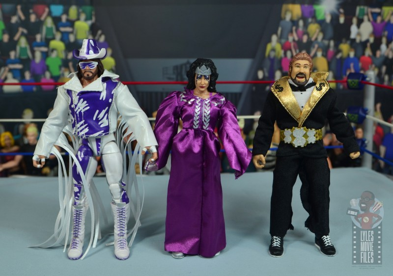 wwe elite sensational sherri figure review - scale with macho king and ted dibiase