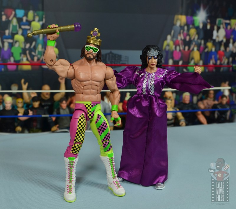 wwe elite sensational sherri figure review - side by side with macho king