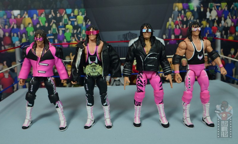 wwe ultimate edition bret hitman hart figure review - jacket front with other mattel bret hart figures front
