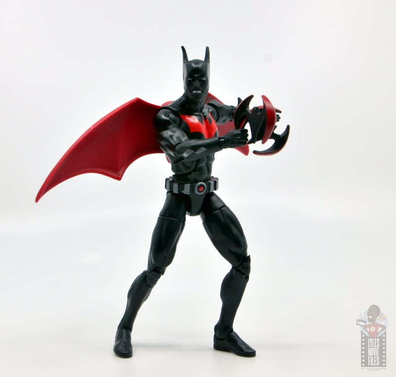 dc multiverse batman beyond figure review - with wings and two batarangs