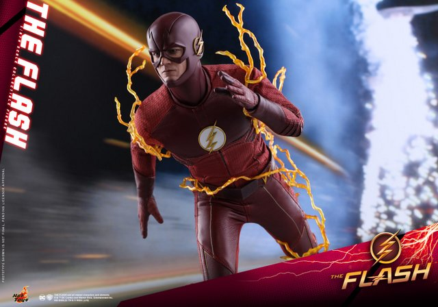 hot toys cw the flash figure - running with lightning bolts