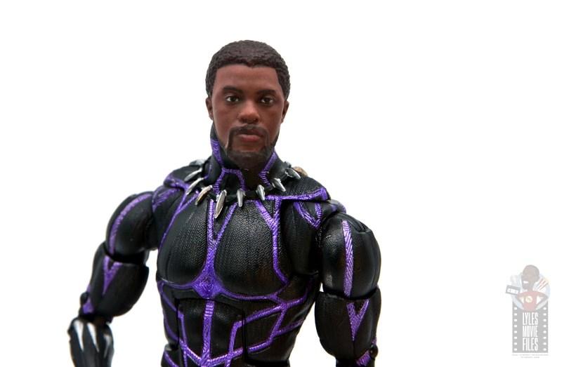 marvel legends black panther vibranium effect figure review -unmasked head sculpt close up
