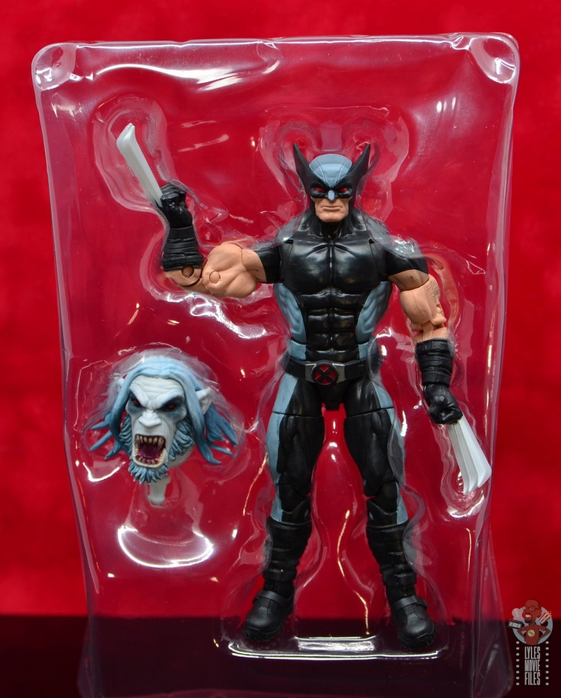 marvel legends x-force wolverine figure review - figure and accessory in tray