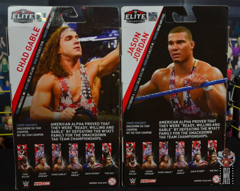 wwe elite american alpha figure review - package rear and bios