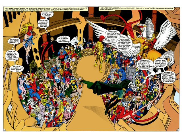 crisis on infinite earths #5 - double spread of the heroes uniting