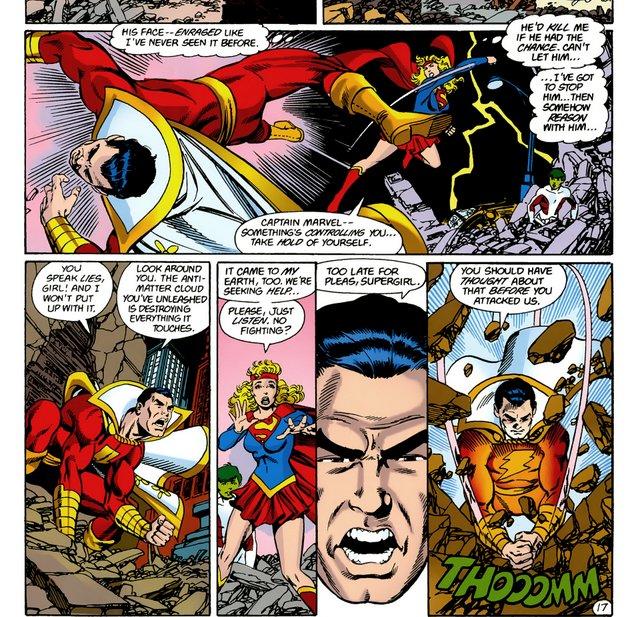 crisis on infinite earths #6 supergirl vs captain marvel