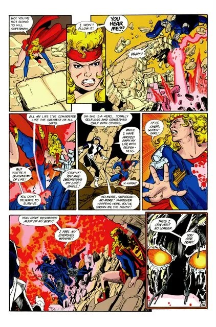crisis on infinite earths #7 - supergirl vs anti-monitor