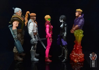 marvel legends boom-boom figure review - facing cable, shatterstar, domino and cannonball