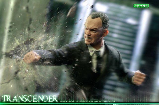 transcender the matrix agent smith figure - smashing wall
