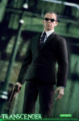 transcender the matrix agent smith figure - with gun in hand