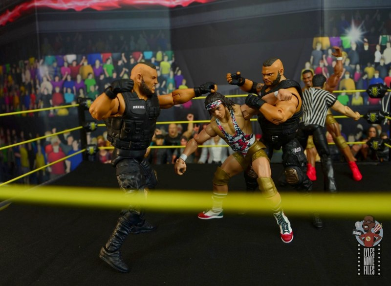 wwe elite authors of pain figure review - beating down chad gable