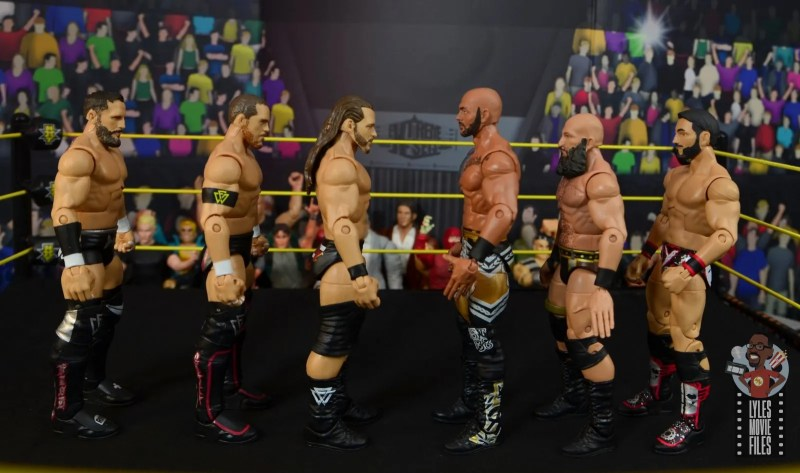 wwe elite undisputed era figure set review - scale with ricochet, tomasso ciampa and johnny gargano