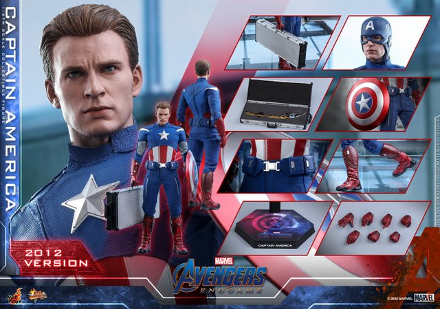 hot toys avengers endgame captain america 2012 figure - collage