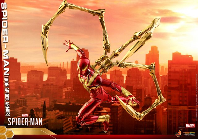 hot toys spider-man iron spider armor figure - flying