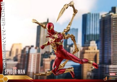 hot toys spider-man iron spider armor figure - in air