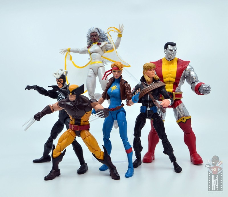 marvel legends dazzler figure review - with havok, wolverine, storm, longshot and colossus