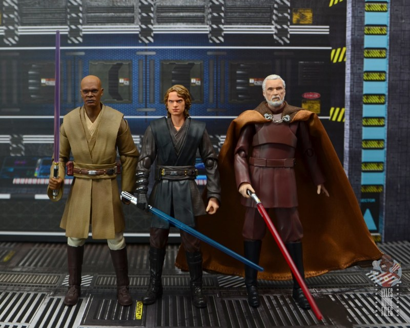 sh figuarts anakin skywalker revenge of the sith figure review - scale with mace windu and count dooku