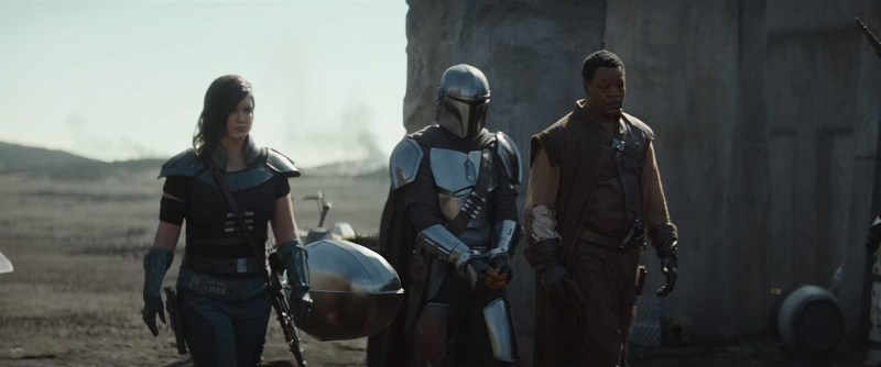 the mandalorian - the reckoning review - cara dune, mando and greef carga