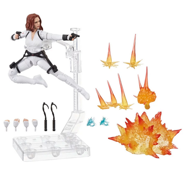 Black Widow Marvel Legends 6-Inch Deluxe White Costume Action Figure with Stand - accessories