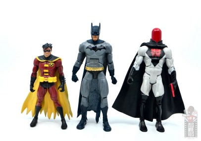 dc multiverse dick grayson batman figure review - scale with red robin and red hood