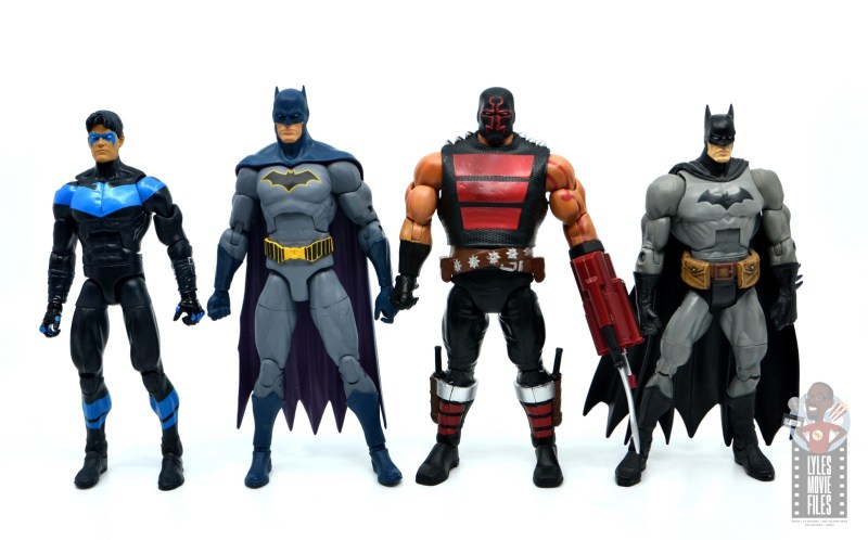 dc multiverse kgbeast figure review - scale with dc multiverse nightwing, dc essentials batman and dc classics batman